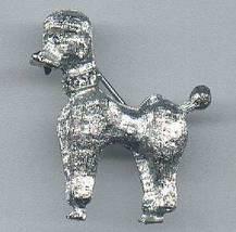 Vintage Poodle Dog Pin Brooch Clear Rhinestone Collar Eyes SilvertoneTex... - $4.95