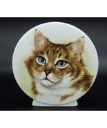 Vintage Hand Painted Porcelain Cat Face Figurine Art Tabby Gray Eyes Japan - $19.79