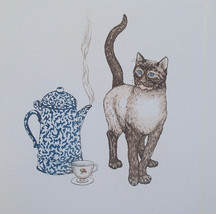 "Martha Hinson ""Catnip Tea"" Siamese Cat with teapot and cup S/N color etc... - $18.80"
