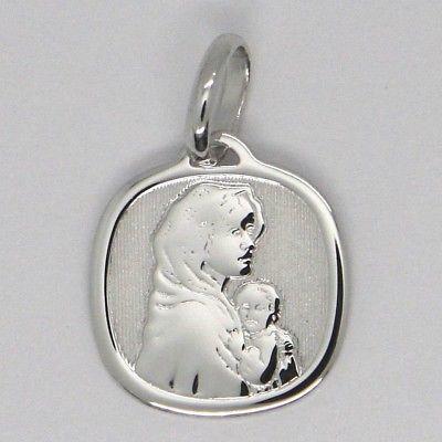 Anhänger Medaille Weißgold 18K, Vergine Maria und Jesus, quadratisch