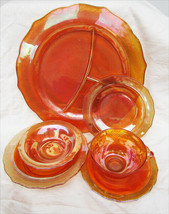 Carnival glass Normandie iridescent marigold 6 pc set plates bowls cup F... - $19.50