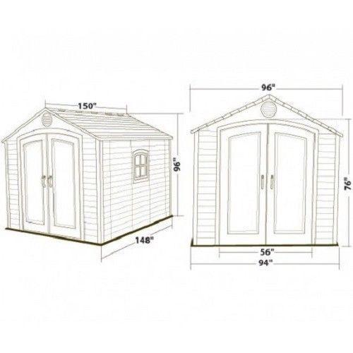 Lifetime 8x12.5 ft Plastic Storage Shed Kit (6402)
