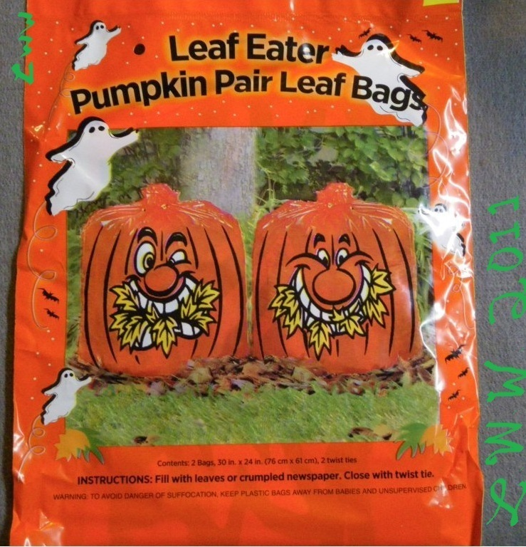 Two Halloween Leaf Eating Jack-o-lantern Lawn Bags Orange
