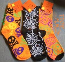 3 pairs of Ladies  Halloween Crew Socks Skull & bone Spider  - $8.99