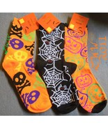 3 pairs of Ladies  Halloween Crew Socks Skull & bone Spider  - $8.99