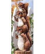 Stack Of Squirrel Peepers Woodland Garden Statue - $21.95
