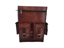 """15"""" Leather Backpack Bag Rucksack Messenger Laptop Satchel Genuine Vintage image 6"""
