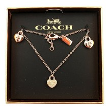NWT COACH Twinkling Heart Bracelet Plated Metal Jewelry Rose Gold Gift F... - $61.38