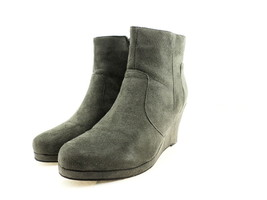Journee Collection Women's Koala Wedge Bootie, Grey Suede, Size 8.5 M US - $39.49