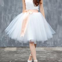 Navy White Midi Tulle Skirt 6-layered Party Tulle Skirt image 6