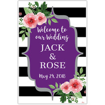 Black and White Striped Purple Floral Welcome Sign for Wedding - $22.28+