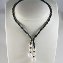 SOLID 18K WHITE GOLD NECKLACE WITH FW PEARLS AND MULTIFACETED ONYX MADE IN ITALY image 1