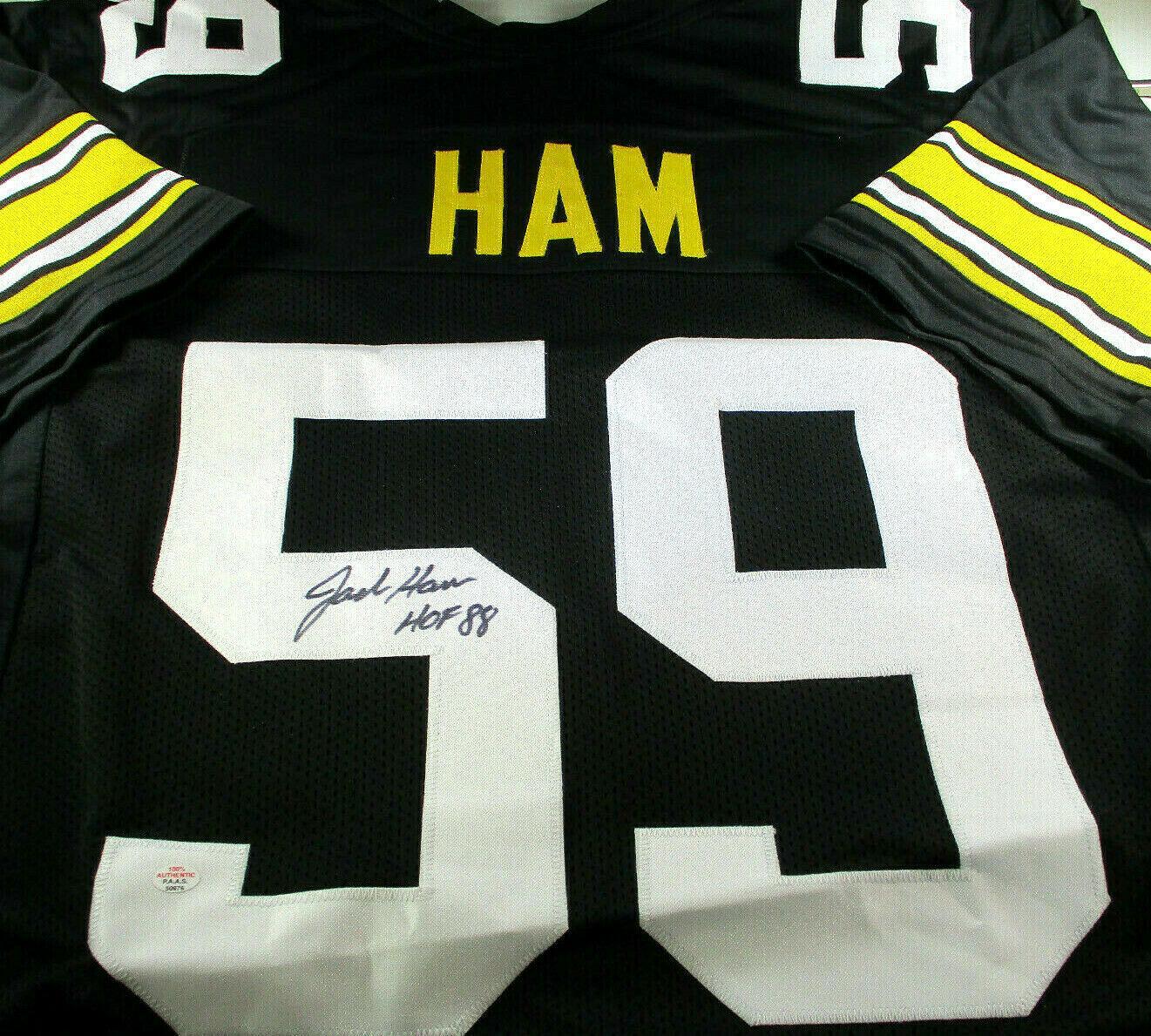 JACK HAM / NFL HALL OF FAME / AUTOGRAPHED PITTSBURGH SEELERS CUSTOM JERSEY / COA