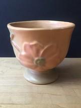 Vintage 50s Weller Wild Rose Pattern Low Footed Vase