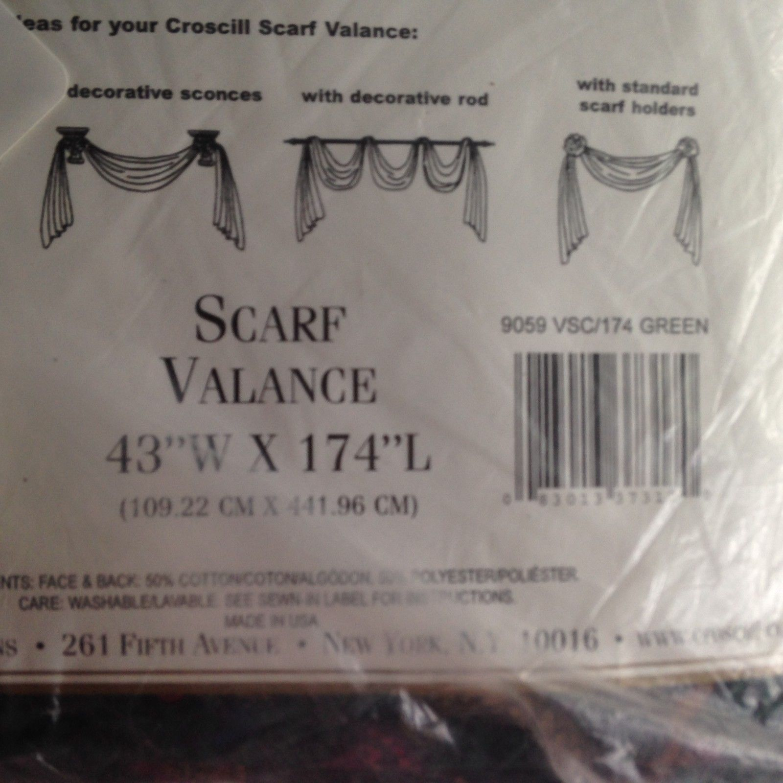 """Vintage Town & Country One Scarf Valance Paisley Croscill Classic 43"""" X 174"""""""