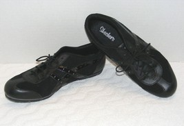 WOMEN'S SKECHERS BLACK LEATHER SYNTHETIC UPPER ATHLETIC SNEAKERS SIZE 9.... - $24.99