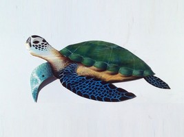 Sea Turtle Carved painted from Royal Palm Tree Frond tortoise sea nautic... - $104.73 CAD