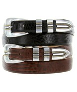"Vincente Italian Leather Designer Dress Belt 1-1/8"" to 1"" width, Black B... - $29.95"