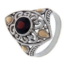 Solid Sterling Silver & 14 K Gold Garnet Die-Cut Ring»R22 - $162.63