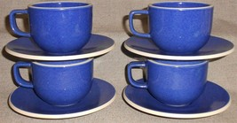 Set (4) Sasaki COLORSTONE SAPPHIRE PATTERN Cups and Saucers MADE IN JAPAN - $39.59