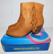 Soda Adin Suede Fringe Brown Boots Size 10 Brand New - $25.50
