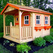 Wooden Playhouse 6 ft x 9 ft Red Cedar Kid Cabin with Flower Boxes and S... - $4,622.28