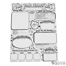 Color Your Own Spanish All About Me Posters - $11.49