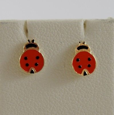 18K YELLOW GOLD CHILD LADYBIRD LADYBUG MINI EARRINGS GLAZED, FLAT, MADE IN ITALY