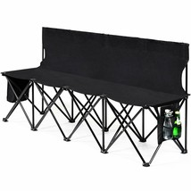 Folding 4 Seats Sports Sideline Bench Outdoor with Side Bag - $64.94
