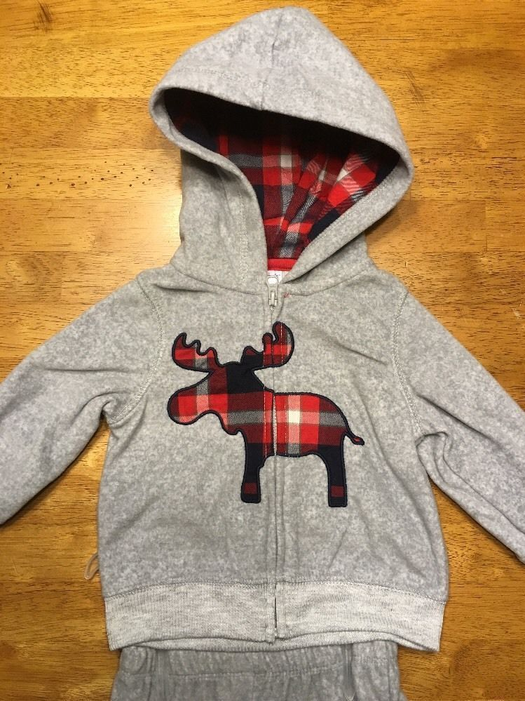191af8bc2 NWT Carter's Boy's Gray 2 Piece Outfit - Size: 9 Months - Hoodie & Fleece