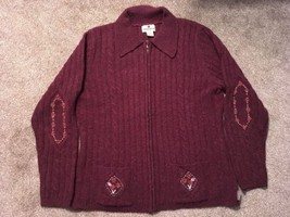 Womens Woolrich 100% Wool Black Cherry Full Zip Sweater, Size M - $39.99