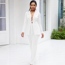 Women's Stylish White Blazer and Pants Fashion Wear To Work  Pant Suit image 3