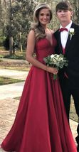 2018 A-line red long prom dress, straps red long prom dress party dress,... - $179.00
