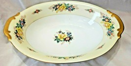 """MEITO CHINA 7 1/2 x 11"""" SERVING BOWL YELLOW BORDER FLORAL SPRAYS GOLD TRIM - $3.49"""