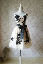 Elegant Ivory LACE Embroidery Knee Length Formal Cocktail Dress Bridesmaid Dress image 1