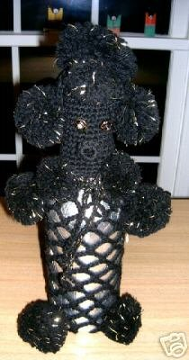 "Primary image for Darling Vintage 1960's Black Knitted Figural 2pc POODLE 14"" Bottle Cover!"