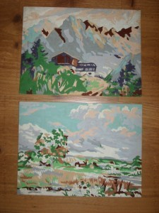 Vintage 50's Mountains PAINT BY NUMBER Set 1 Unfinished