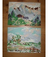 Neat Vintage 1950's Mountain Scene 2pc PAINT BY NUMBER Set 1 Unfinished - $16.00