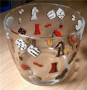 Primary image for Charming Vintage Hazel Atlas ViVa Las Vegas Dice/Card Graphic Glass ICE BUCKET