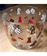 Charming Vintage Hazel Atlas ViVa Las Vegas Dice/Card Graphic Glass ICE ... - $20.00