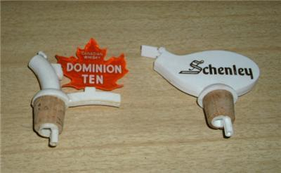 SWELL Vintage DOMINION TEN & SCHENLEY Bottle POURERS!!