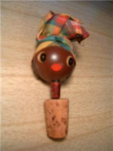 Primary image for Vintage Black AMERICANA Aunt Jemima Cork and Hand Painted Wooden Bottle Stopper