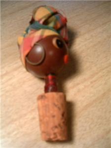 Vintage Black AMERICANA Aunt Jemima Cork Bottle Stopper