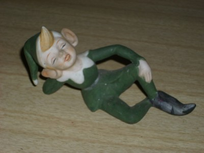 FAB Retro 50's Holiday Green PORCELAIN PIXIE Figure!!