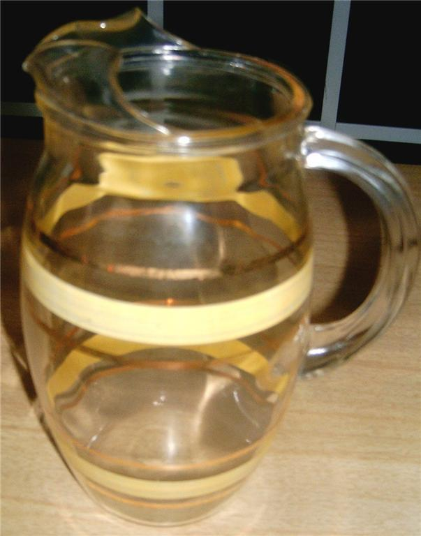 DARLING Vintage Small Glass Pitcher YELLOW Stripes FAB!