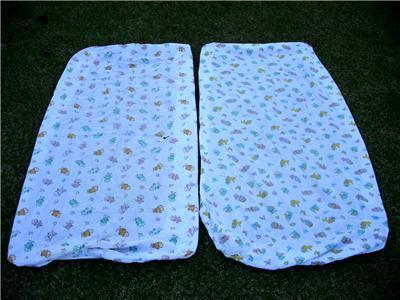2 DARLING Vintage BABY Crib Sheets DOGS CATS CHICKS+!!!