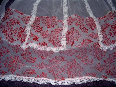 LoVely Vintage RED & WHITE Sheer VELVET Hostess Apron!!