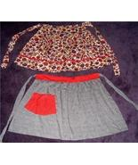 FAB Pair of 50's RED w/ROSE + FLORAL ~ KITSCHY Aprons!! - $12.99