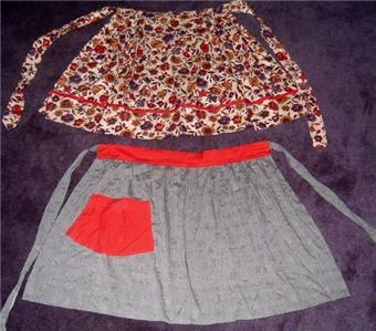 FAB Pair of 50's RED w/ROSE + FLORAL ~ KITSCHY Aprons!!