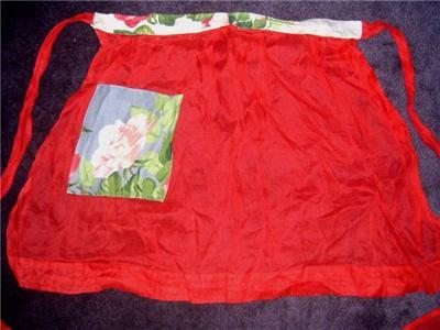 LoVELY 50's SHEER RED & Vintage FLORAL COCKTAIL Apron!